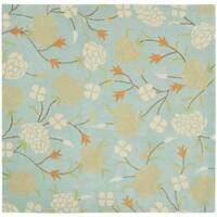 Safavieh Handmade Gardens Blue New Zealand Wool Rug - 6' x 6' Square