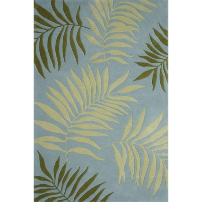 Safavieh Handmade Ferns Blue New Zealand Wool Rug (7'6 x 9'6)