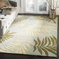 Safavieh Handmade Ferns Blue New Zealand Wool Rug - 6' x 6' Square