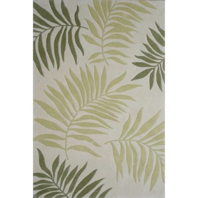 Safavieh Handmade Ferns Ivory New Zealand Wool Rug (7'6 x 9'6)