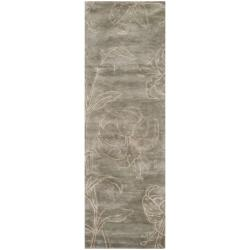 Safavieh Handmade Floral Grey New Zealand Wool Rug (2'6 x 8')