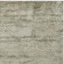 Safavieh Handmade Floral Grey New Zealand Wool Rug (3'6 x 5'6') - Thumbnail 1