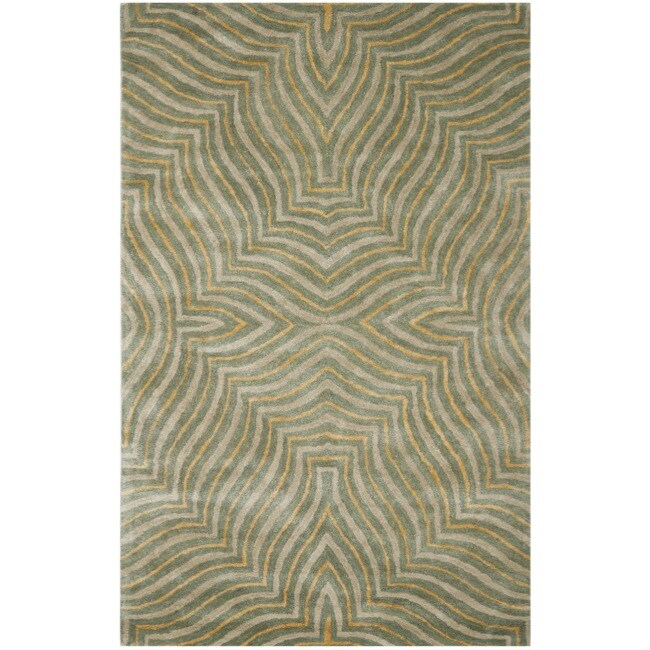 Safavieh Handmade Maz Grey New Zealand Wool Rug (7'6 x 9'6)