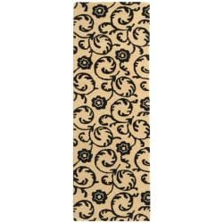 Safavieh Handmade Rose Scrolls Beige New Zealand Wool Rug (2'6 x 10')