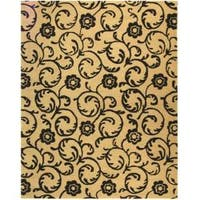 Safavieh Handmade Rose Scrolls Beige New Zealand Wool Rug - 9'6 x 13'6