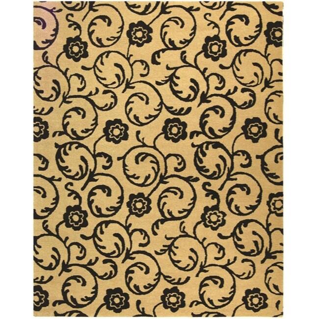 Safavieh Handmade Rose Scrolls Beige New Zealand Wool Rug - 7'6 x 9'6