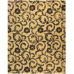 Safavieh Handmade Rose Scrolls Beige New Zealand Wool Rug - 7'6 x 9'6 - Thumbnail 0