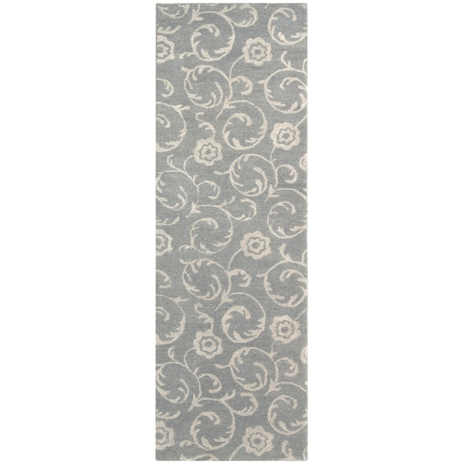"Safavieh Handmade Rose Scrolls Grey New Zealand Wool Runner Rug (2'6"" x 12')"