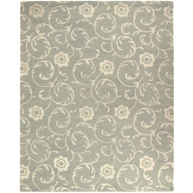 "Safavieh Handmade Rose Scrolls Grey New Zealand Wool Rug - 7'6"" x 9'6"""