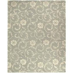 "Safavieh Handmade Rose Scrolls Grey New Zealand Wool Rug - 7'6"" x 9'6"" - Thumbnail 0"