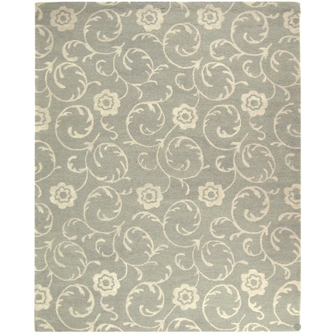 Safavieh Handmade Rose Scrolls Grey New Zealand Wool Rug - 8'3 x 11'