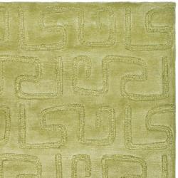 Safavieh Handmade Puzzles Green New Zealand Wool Rug (5'x 8')