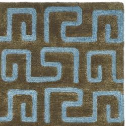 Safavieh Handmade Puzzles Brown/ Blue New Zealand Wool Rug (3'6 x 5'6') - Thumbnail 1