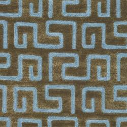 Safavieh Handmade Puzzles Brown/ Blue New Zealand Wool Rug (3'6 x 5'6') - Thumbnail 2