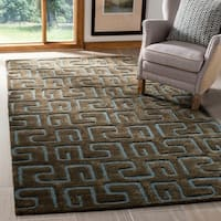 "Safavieh Handmade Puzzles Brown/ Blue New Zealand Wool Rug - 7'6"" x 9'6"""