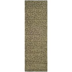 Safavieh Handmade Puzzles Brown/ Gold New Zealand Wool Rug (2'6 x 10')