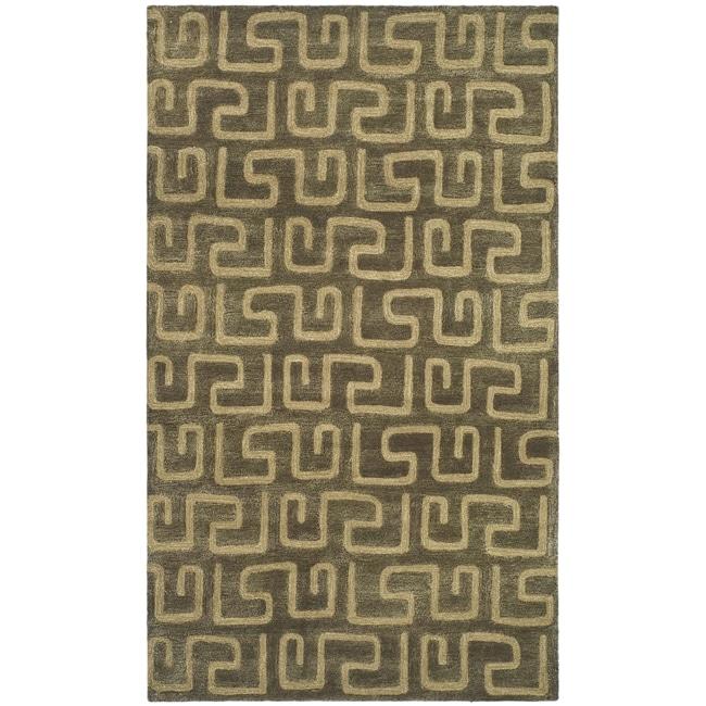 Safavieh Handmade Puzzles Brown/ Gold New Zealand Wool Rug - 9'6 x 13'6