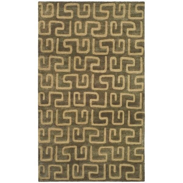 "Safavieh Handmade Puzzles Brown/ Gold New Zealand Wool Rug - 9'-6"" x 13'-6"""