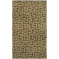 "Safavieh Handmade Puzzles Brown/ Gold New Zealand Wool Rug - 3'-6"" x 5'-6"""
