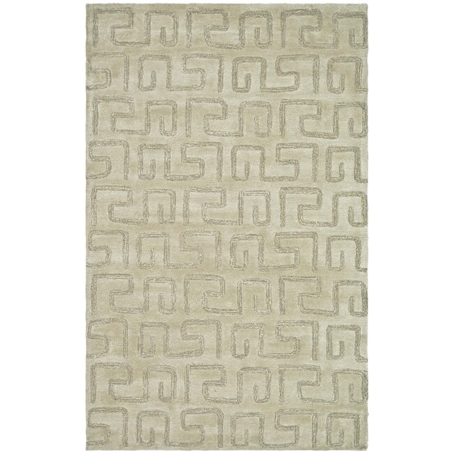 Safavieh Handmade Puzzles Light Green New Zealand Wool Rug - 7'6 x 9'6
