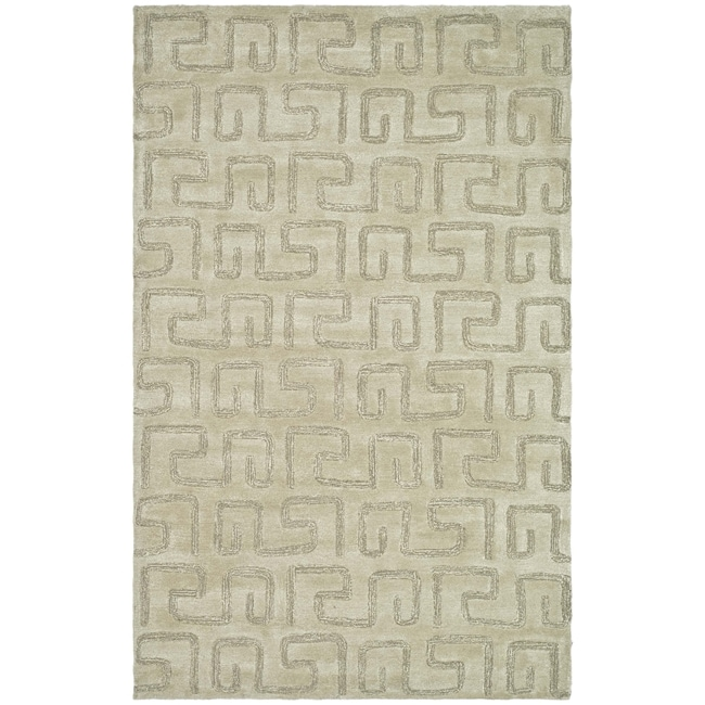 "Safavieh Handmade Puzzles Light Green New Zealand Wool Rug - 8'3"" x 11'"