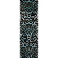 "Safavieh Handmade Tribal Blue New Zealand Wool Rug - 2'6"" x 10'"