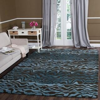 Safavieh Handmade Tribal Blue New Zealand Wool Rug (8'3 x 11')