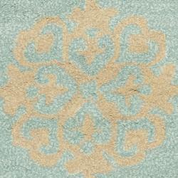 Safavieh Handmade Medallion Turquoise New Zealand Wool Rug (2' x 3') - Thumbnail 2