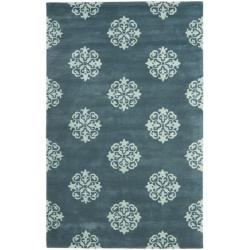 Safavieh Handmade Medallion Blue New Zealand Wool Rug (5'x 8')