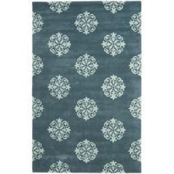 Safavieh Handmade Medallion Blue New Zealand Wool Rug (5'x 8')