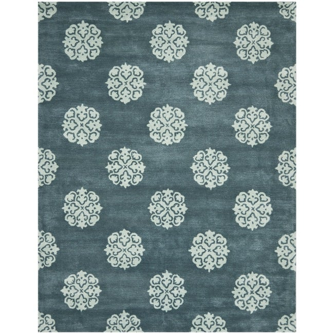 Safavieh Handmade Medallion Blue New Zealand Wool Rug (7'6 x 9'6) - Thumbnail 0