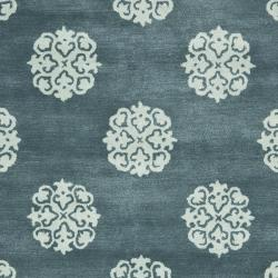 Safavieh Handmade Medallion Blue New Zealand Wool Rug (7'6 x 9'6) - Thumbnail 2