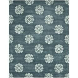 Safavieh Handmade Medallion Blue New Zealand Wool Rug - 8'3 x 11' - Thumbnail 0