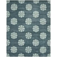 Safavieh Handmade Medallion Blue New Zealand Wool Rug - 8'3 x 11'