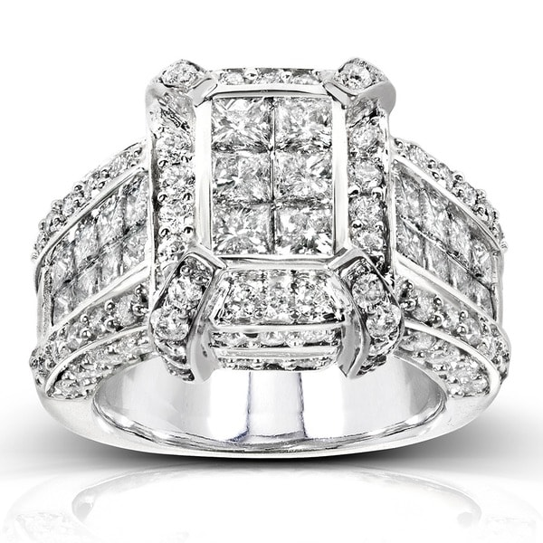 Annello 14k White Gold 3ct TDW Pave Diamond Ring (H-I, I1-I2)