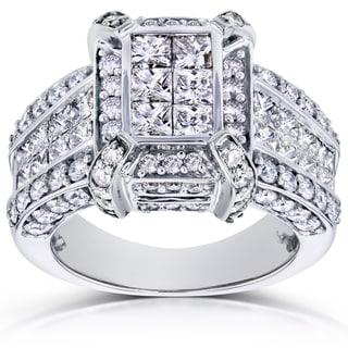 Annello by Kobelli 14k White Gold 3ct TDW Pave Diamond Ring (H-I, I1-I2)