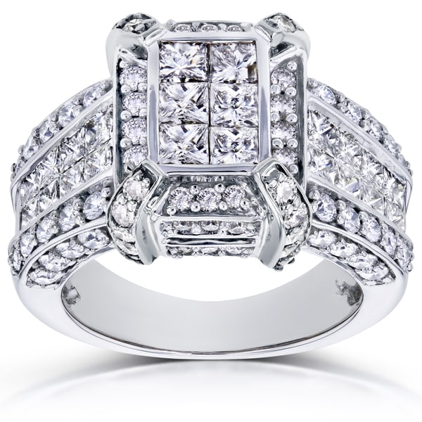 Annello by Kobelli 14k White Gold 3ct TDW Pave Diamond Ring (H-I, I1-I2)
