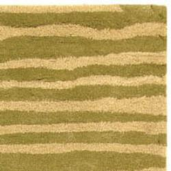 Safavieh Handmade Stripes Green New Zealand Wool Rug (3'6 x 5'6')