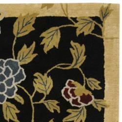 Safavieh Handmade Gardens Black New Zealand Wool Rug (3'6 x 5'6') - Thumbnail 1