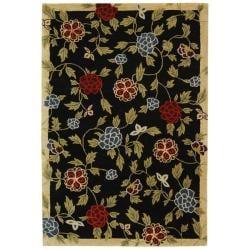 Safavieh Handmade Gardens Black New Zealand Wool Rug (3'6 x 5'6') - Thumbnail 0