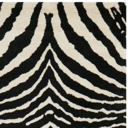 Safavieh Handmade Zebra Ivory/Black Contemporary New Zealand Wool Rug (2'6 x 12') - Thumbnail 1
