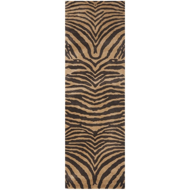Safavieh Handmade Tiger Beige/ Brown New Zealand Wool Rug (2'6 x 8')
