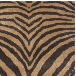 Safavieh Handmade Tiger Beige/ Brown New Zealand Wool Rug (2'6 x 8') - Thumbnail 1
