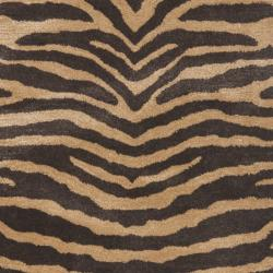 Safavieh Handmade Tiger Beige/ Brown New Zealand Wool Rug (2'6 x 8') - Thumbnail 2