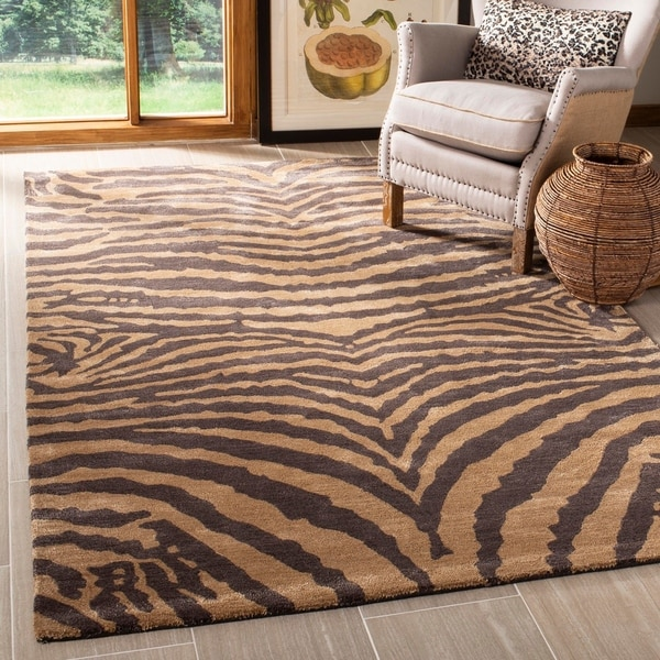 "Safavieh Handmade Tiger Beige/ Brown New Zealand Wool Rug - 9'-6"" x 13'-6"""