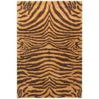 Safavieh Handmade Tiger Beige/ Brown New Zealand Wool Rug - 6' x 9'