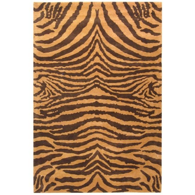 Safavieh Handmade Tiger Beige/ Brown New Zealand Wool Rug - 7'6 x 9'6