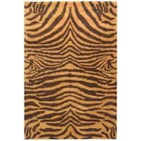 Safavieh Handmade Tiger Beige/ Brown New Zealand Wool Rug - 7'6 x 9'6