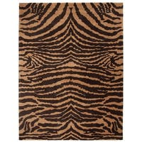 "Safavieh Handmade Tiger Beige/ Brown New Zealand Wool Rug - 7'-6"" X 9'-6"""