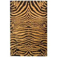 Safavieh Handmade Tiger Brown/ Black New Zealand Wool Rug - 3'6 x 5'6